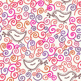 Seamless cartoon pattern with birds Royalty Free Stock Photos