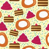 Seamless cartoon pattern with cake Royalty Free Stock Images