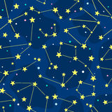 Seamless cartoon pattern with constellation Royalty Free Stock Photos