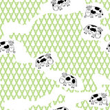 Seamless cartoon pattern with cows. Stock Image