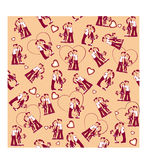 Seamless cartoon  pattern of cute girl and boy Royalty Free Stock Photos