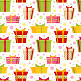 Seamless cartoon pattern with gift boxes Stock Photo