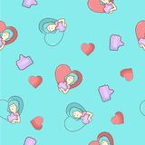 Seamless cartoon pattern with girl likes and heart royalty free illustration
