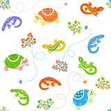 Seamless cartoon pattern with lizards and turtles Stock Photos