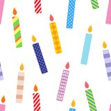 Seamless cartoon pattern. Party background with color candles, isolated on white Stock Photo