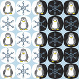 Seamless cartoon penguin snowflake pattern. Seamless transparent cartoon penguin snowflake pattern on blue Royalty Free Stock Images