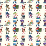 Seamless cartoon people pattern stock illustration