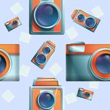 Seamless cartoon phot on the theme of vintage cameras. Vector illustration stock illustration