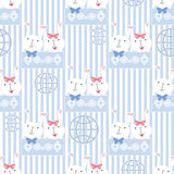 Seamless cartoon rabbit pattern striped background Royalty Free Stock Photo