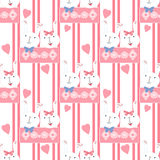 Seamless cartoon rabbit pattern texture striped background Royalty Free Stock Image