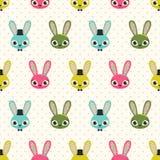 Seamless cartoon rabbits pattern Royalty Free Stock Photos