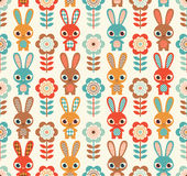 Seamless cartoon rabbits pattern Royalty Free Stock Images