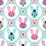 Seamless cartoon rabbits pattern Royalty Free Stock Photo