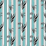 Seamless cartoon retro flowers pattern background Royalty Free Stock Image