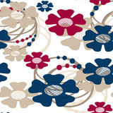 Seamless cartoon retro flowers pattern background Stock Photos