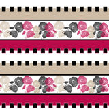 Seamless cartoon retro flowers pattern background Royalty Free Stock Photos