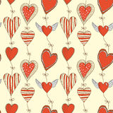 Seamless cartoon romantic pattern with hearts Royalty Free Stock Image