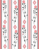 Seamless cartoon roses flowers pattern striped background Royalty Free Stock Photo