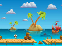 Seamless cartoon sea landscape, vector unending background with separated layers. Royalty Free Stock Photo