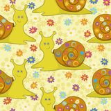 Seamless, cartoon snail and flowers Royalty Free Stock Photography