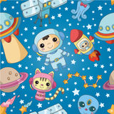 Seamless cartoon space pattern Royalty Free Stock Photo