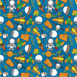 Seamless cartoon space pattern. Drawing Royalty Free Stock Photo