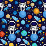 Seamless cartoon space pattern - astronaut, spaceship, planets, satellites. Colorful seamless cartoon space pattern with astronauts, rockets, planets, stars on Royalty Free Stock Photography