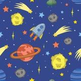 Seamless cartoon space pattern Stock Image