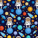 Seamless cartoon space pattern - bear astronaut, spaceship, planets, satellites. Colorful seamless cartoon space pattern with bear astronauts, rockets, planets Stock Images