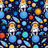 Seamless cartoon space pattern - cat astronaut, spaceship, planets, satellites. Colorful seamless cartoon space pattern with cat astronauts, rockets, planets Royalty Free Stock Photos