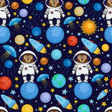 Seamless cartoon space pattern - monkey astronaut, spaceship, planets, satellites. Colorful seamless cartoon space pattern with monkey astronauts, rockets Royalty Free Stock Photography