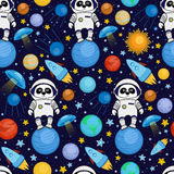 Seamless cartoon space pattern - panda astronaut, spaceship, planets, satellites. Colorful seamless cartoon space pattern with panda astronauts, rockets, planets Royalty Free Stock Image