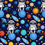 Seamless cartoon space pattern - raccoon astronaut, spaceship, planets, satellites. Colorful seamless cartoon space pattern with raccoon astronauts, rockets Royalty Free Stock Photos