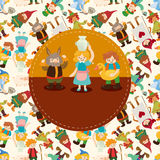 Seamless cartoon story people pattern Stock Photography