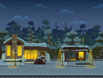 Seamless cartoon street in town, winter landscape, vector unending background with separated layers. stock illustration