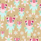 Seamless  cartoon teddy - bee with flowers and trees illustration repeat background pattern Stock Photos