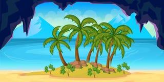 Seamless cartoon tropical landscape, unending background for game stock illustration