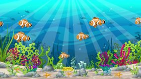 Seamless cartoon underwater landscape