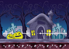 Seamless cartoon vector halloween background with separated layers Royalty Free Stock Photo