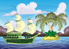 Seamless cartoon vector island with separated. Layers for game and animation, game design asset Royalty Free Stock Photos