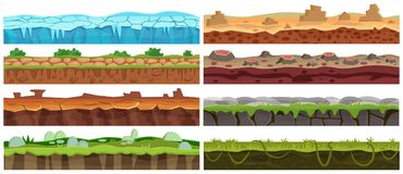 Seamless cartoon vector landscape design set. Ground floor collection for game interface. royalty free illustration