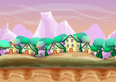 Seamless cartoon vector landscape with separated layers for game and animation. Game design asset Stock Image