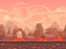 Seamless cartoon volcano desert landscape. Separated layers for game design Royalty Free Stock Images