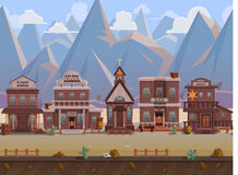 Seamless cartoon wild west town, western landscape, vector unending background with separated layers. Stock Photo