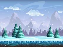 Seamless cartoon winter landscape background endless ice, snow h