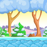 Seamless cartoon winter landscape, vector with  snow trees, mountains, ice and sky layers. Stock Images