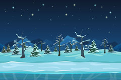Seamless cartoon winter night landscape Royalty Free Stock Photo