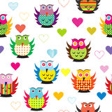 Seamless with carttoon owls Stock Photo