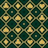Seamless casino gambling poker background with golden symbols, v Stock Images