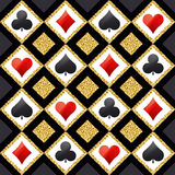 Seamless casino gambling poker background with red, black. And golden symbols, vector illustration. Ideal for printing onto fabric and paper or scrap booking stock illustration